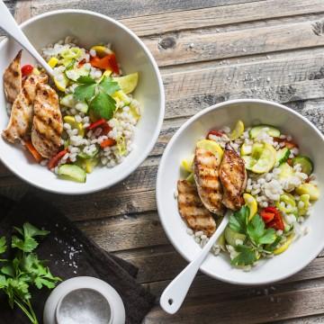 Poulet, petits légumes et orge façon pilaf (4 personnes)